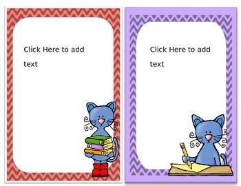 Editable Classroom Labels, cool cat theme
