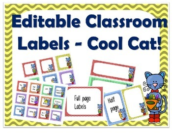 Editable Classroom Labels, cool cat theme