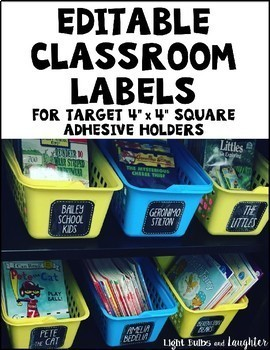 Editable Classroom Labels for Target Squares - Black & White