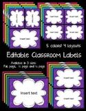 Editable Classroom Labels in FUN, BRIGHT colors with a MAT