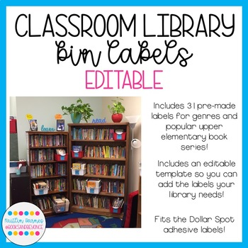 Editable Classroom Library Bin Labels (Upper Elementary/Middle School)