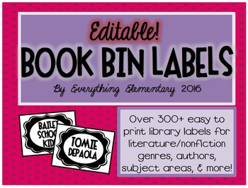 Editable Classroom Library Book Bin and Basket Labels!