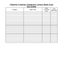Editable Classroom Library Book Sign Out Sheet
