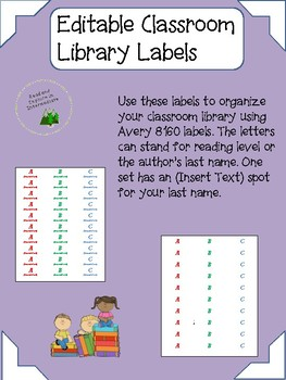 editable classroom library book spine labels tpt