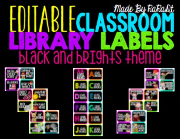 *Editable* Classroom Library Labels {Black & Brights Theme}