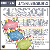 Editable Classroom Library Labels-Middle and High School-Distressed Rainbow