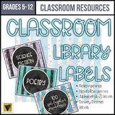 Editable Classroom Library Labels-Middle and High School-W