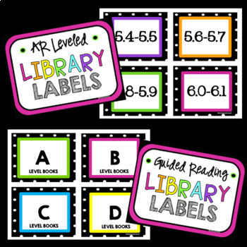 Editable Classroom Library Labels *Neon and Polka Dots*