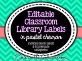 Editable Classroom Library Labels - Pastel Chevron