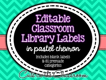 Editable Classroom Library Labels - Pastel Chevron