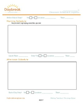 Editable Classroom Logistics Page for Your Substitutes