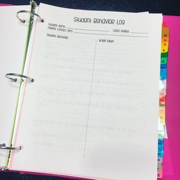 Editable Classroom Management Teacher Binder