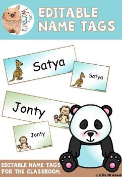 Editable Classroom Name Tags - Animal Theme