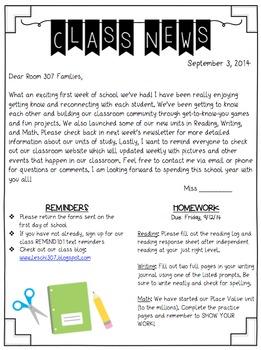 Editable Classroom Newsletter
