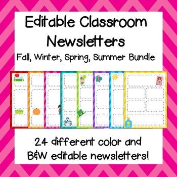 Classroom Newsletters /  Editable Classroom Newsletters