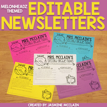 Editable Classroom Newsletter (Melonheadz Themed)