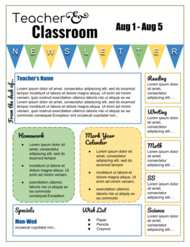 Editable, Reusable Classroom Newsletter Template