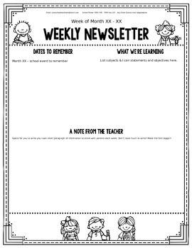 Editable Classroom Newsletter Templates