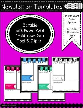 Newsletter Blank Templates Editable (14 Colors)