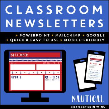 Editable Classroom Newsletter Templates: Nautical Themed