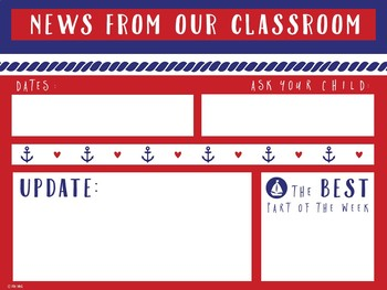 Editable Classroom Newsletter Templates Nautical Themed By Erin Wing