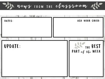 Editable Classroom Newsletter Templates Shiplap Themed By Erin Wing