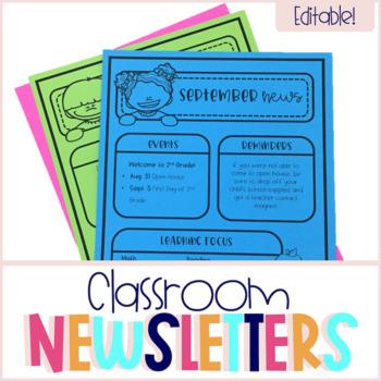 Editable Classroom Newsletters & Calendars