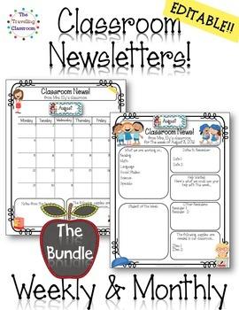 Classroom Newsletter Templates EDITABLE - 60% off!
