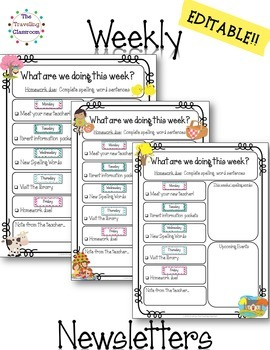 Classroom Newsletter Templates EDITABLE {600+pages!!}