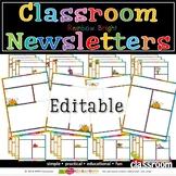 Editable Classroom Newsletters Sept - Aug - RAINBOW BRIGHT