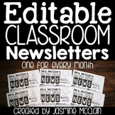 Editable Classroom Newsletters (Themed Monthly)