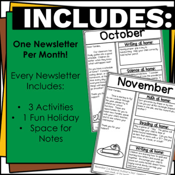 Editable Classroom Newsletters for Pre-K-Grade 5-Black and White-Year Round