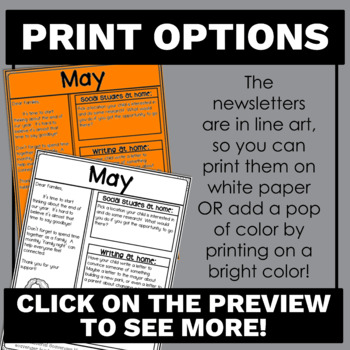 No Prep Editable Newsletters for Elementary School Bundle Black and White