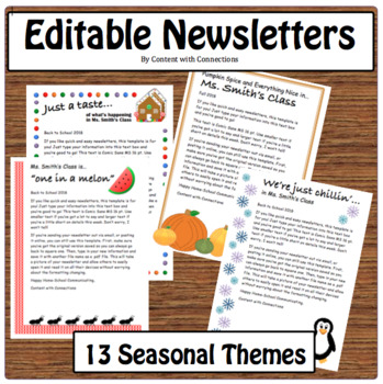 13 Themes and 3 Newsletter Templates Editable per Theme (Bundle, Back to School)