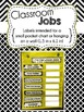 Editable Classroom Organization Labels: Black, White, and a Hint of Yellow