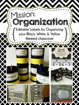 Editable Classroom Organization Labels: Black, White, and