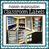 Editable Classroom Organization Labels: Blue & White