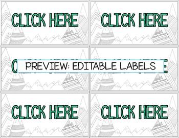 Editable Classroom Organization Labels - Mountain Theme