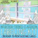 Editable Classroom Organization Labels - Mountain Theme