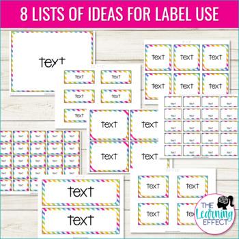 Editable Classroom Organization Labels   Stripes