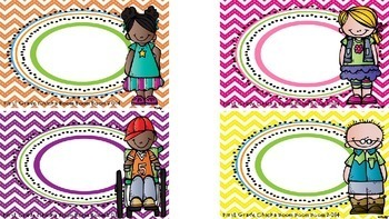 Editable Classroom Organizational Tags (Polka Dot/Chevron Brights)