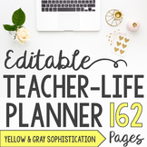 Teacher/Life Planner for UPPER Grades: Yellow & Gray Sophi
