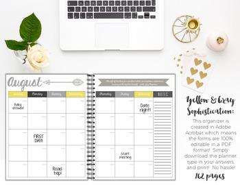 Teacher/Life Planner for UPPER Grades: Yellow & Gray Sophistication