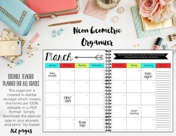 Teacher/Life Planner for UPPER Grades: Neon Geometric Theme