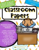 Editable Classroom Organization Papers - 600 Follower Freebie!