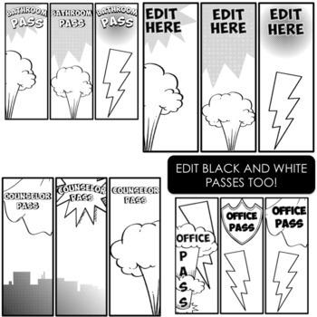 Superhero Class Passes- Editable