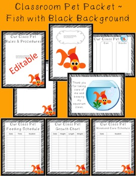 Editable Classroom Pet Packet ~ Fish with Scribble Black Border