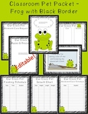 Editable Classroom Pet Packet ~ Frog with Scribble Black Border