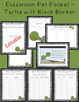 Editable Classroom Pet Packet ~Turtle with Scribble Black Border