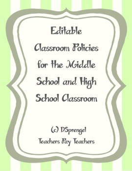 Editable Classroom Policies and Consequences for Middle School and High School